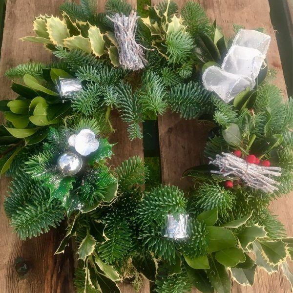 Silver Decorated Christmas Wreath