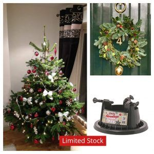 5ft to 6ft Real Christmas tree with water holding stand and traditional wreath