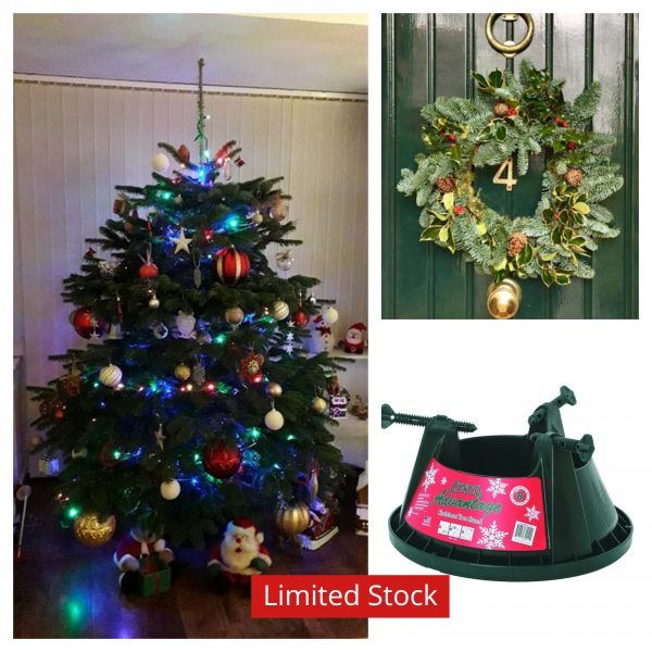 6ft to 7ft Real Christmas Tree with stand and Traditional wreath